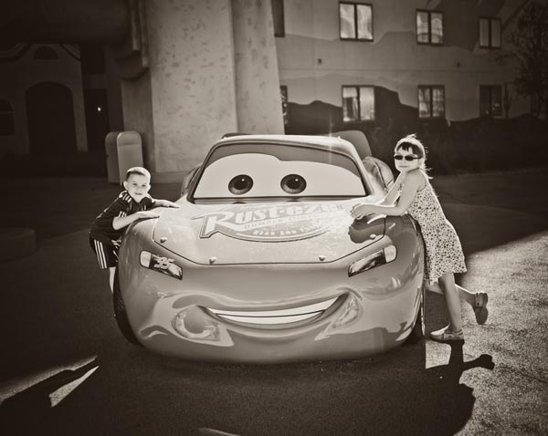 Kids with Lightning McQueen at Art of Animation