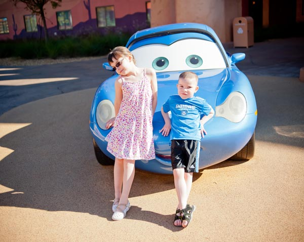 Kids with Cars car at Art of Animation resort in Walt Disney World