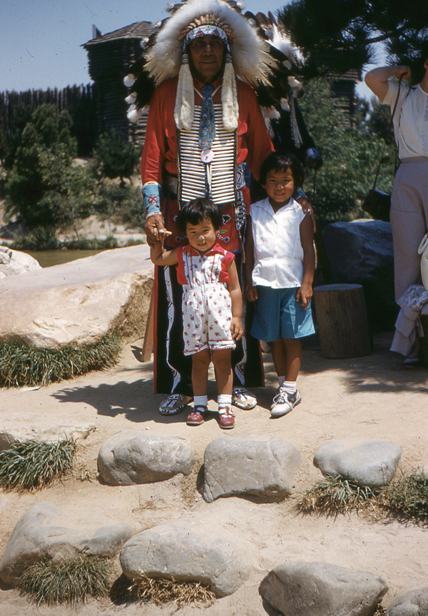 Vintage Disneyland photo with Indian
